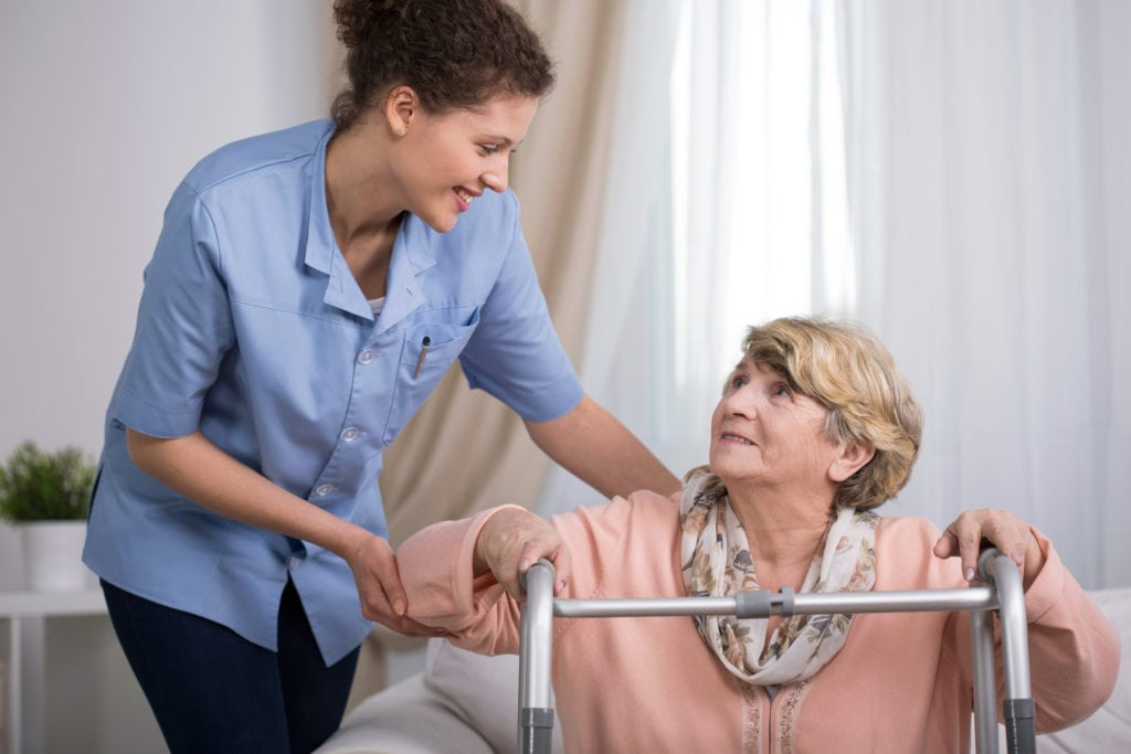 Senior Woman Using Walking Frame in Chadds Ford, PA